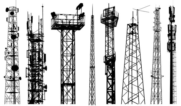 TV radio tower silhouette vector. Radio repeater isolated set on white background