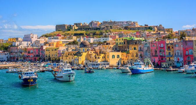 Port of Procida island in Gulf of Naples, Italy