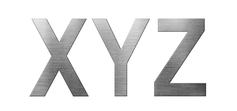Metal font english alphabet. Letter XYZ from a metal plate isolated on a white background.