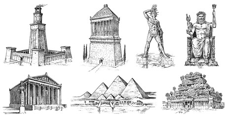 Seven Wonders of the Ancient World. Pyramid of Giza, Hanging Gardens of Babylon, Temple of Artemis at Ephesus, Zeus at Olympia, Mausoleum at Halicarnassus, Colossus of Rhodes, Lighthouse of Alexandria Fototapete