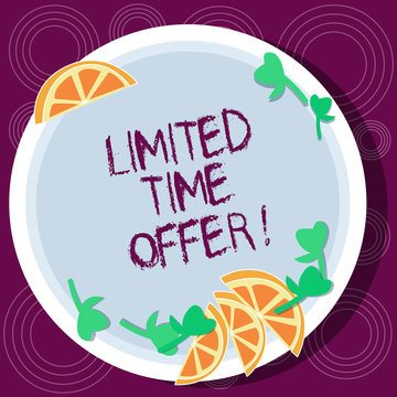Word writing text Limited Time Offer. Business concept for special item available for clearly defined short period Cutouts of Sliced Lime Wedge and Herb Leaves on Blank Round Color Plate