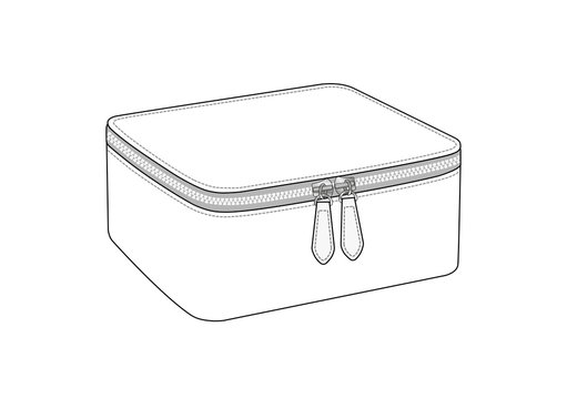 cosmetic bag with double slider zipper, zip pouch vector illustration sketch template