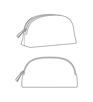 Dome makeup bag, cosmetic case, daily zip pouch vector illustration sketch template