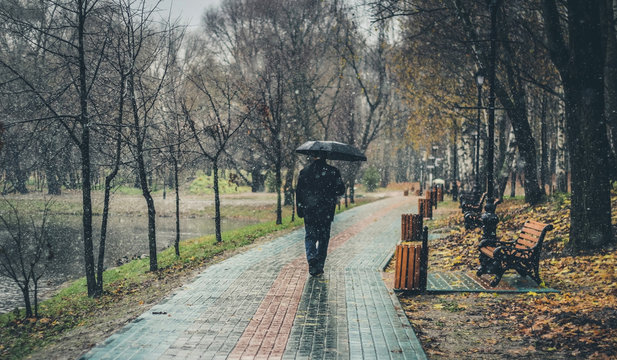 autumn landscape with rain, snow. lonely man with black umbrella walking on road in park. late autumn, fall season. bad weather, depression concept. copy space.