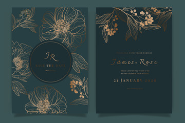 Wedding Invitation, floral invite thank you, rsvp modern card Design in white rose with red berry and leaf greenery  branches decorative Vector elegant rustic template