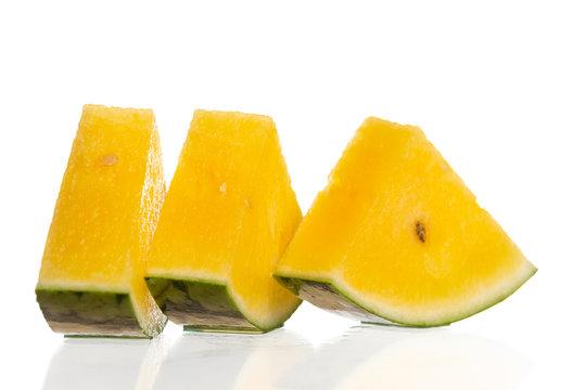 Yellow watermelon on white background