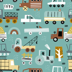 Seamless pattern with cute car. Perfect for kids fabric, textile, nursery wallpaper.