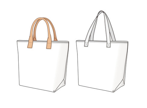 shopping bags with different handles, vector illustration flat sketch template isolated on white background