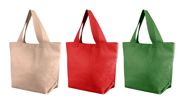 cotton bags, tote shopping bags isolated on white background