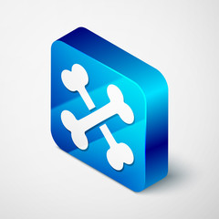 Isometric Crossed bones icon isolated on white background. Pets food symbol. Blue square button. Vector Illustration