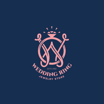 Wedding ring monogram W