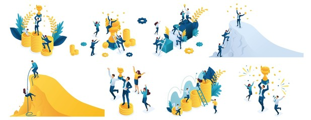 Isometric set of concepts on the theme of success, winning a prize, winning a victory, climb up