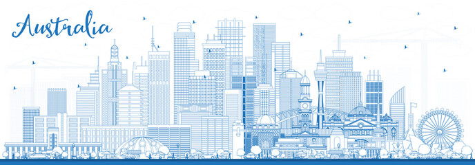 Wall Mural - Outline Australia City Skyline with Blue Buildings.