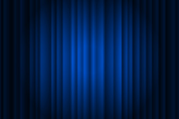 Closed silky luxury blue curtain stage background spotlight beam illuminated. Theatrical drapes. Vector gradient illustration