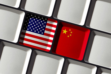 USA and China - US American and Chinese Flags on Computer Keyboard - Concept Technology