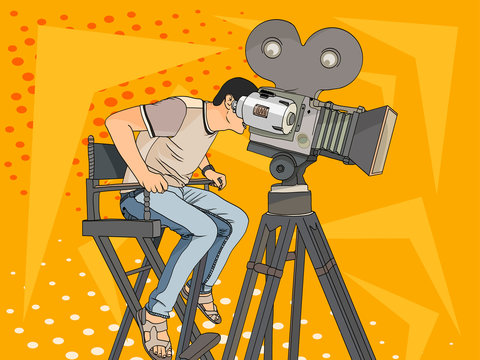 Stage director on set pop art retro raster. Comic book style imitation. videographer and camera on the legs