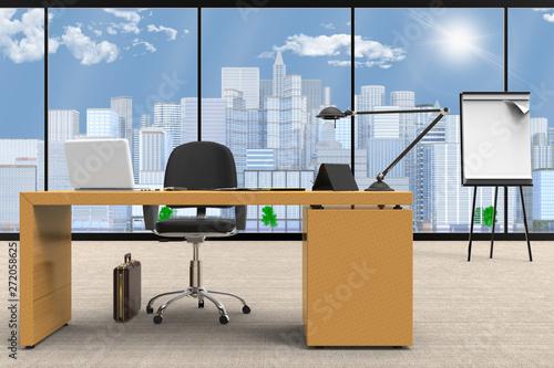 Scrivania Per Computer Design.Interno Di Ufficio Con Scrivania E Computer Sullo Sfondo Vetrata