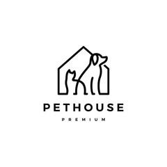 dog cat pet house home logo vector icon line art outline