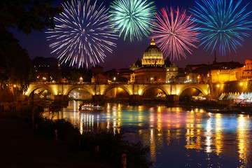 In de dag Rome Fireworks on St peter Cathedral skyline in Rome view from Umberto I bridge on Tiber river