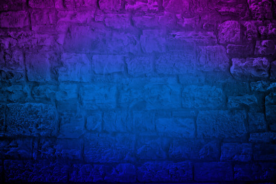 Neon colored Limestone brick wall