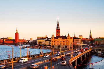 Wall Mural - View of Gamla Stan in Stockholm, Sweden with landmarks like Riddarholm Church during the morning