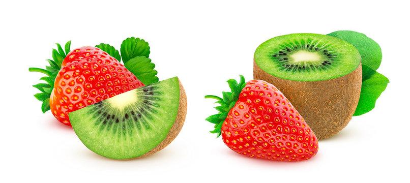 Strawberry and kiwi fruit isolated on white background