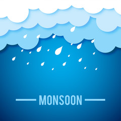 Creative Sale Banner Or Sale Poster Of Monsoon Season With Colorful Line Art Umbrella. - Vector