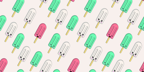 Cartoon cute colorful vector ice cream seamless pattern. Ice cream polo illustration for textile, wallpaper or backgrounds.