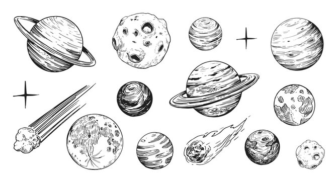 Set of space objects: planets, stars. Hand drawn vector