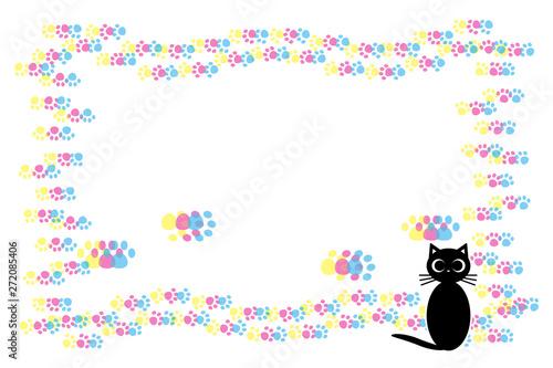 背景素材猫の足跡肉球仔猫動物かわいいイラスト動物病院ペット