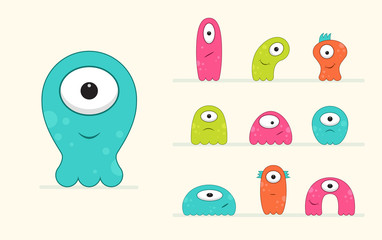 Cool, fun, cute Creature / alien - blue, green, pink & orange - vector illustration