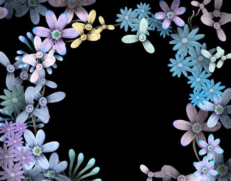 Flower frame with black background