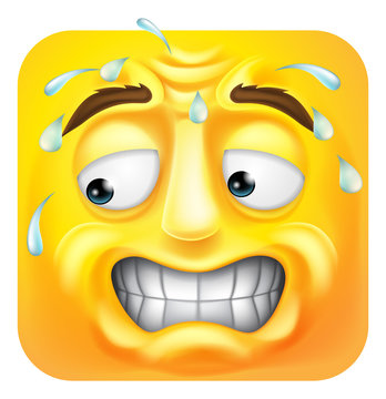 A sweating worried scared emoji or emoticon square face 3d icon cartoon character