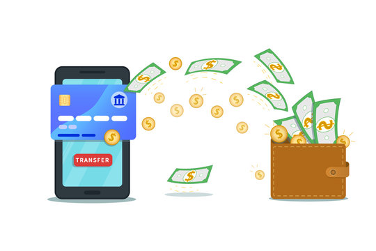 Online money transfer app, banking concept. Flat smartphone with credit card and transfer button isolated on white background.Virtual mobile wallet. Payment service. Cash flow. Make or earn money
