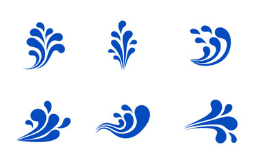 water splash icon or logo Isolated on white background. Cartoon style. Vector Illustration.