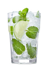 glass of fresh mojito coctail with mint, lime and ice cubes isolated on white background