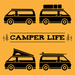 Camper van with differents accesories and styles