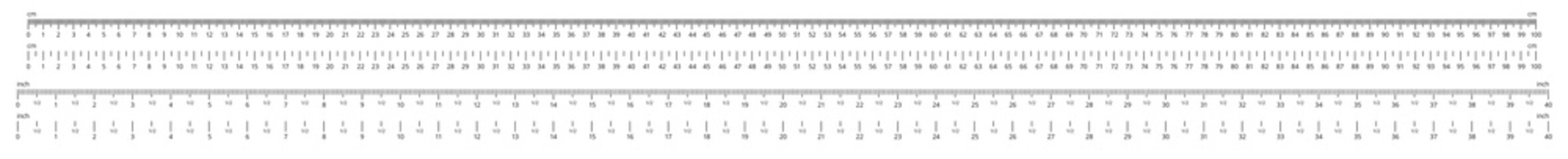 Ruler scale. Measurable scales, 100 centimeters and 40 inches rulers vector illustration