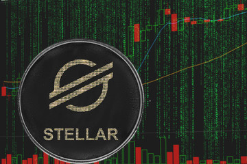 token xlm stellar cryptocurrency on the background of binary crypto matrix text and price chart.