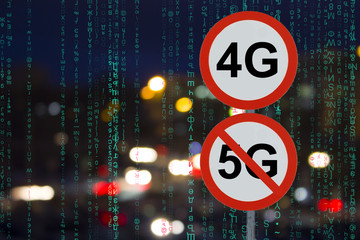 the Sign 4G no 5G and the night road with cars and matrix data