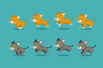 Vector cartoon tabby cats running step for design.