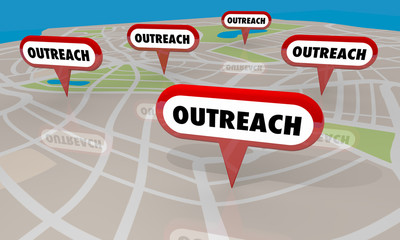 Outreach Event Campaign Efforts Map Pins Locations 3d Illustration