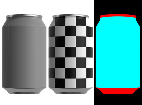 12 oz. Can of beer or soda. High resolution 3d render. The layout kit includes checker and alphas.