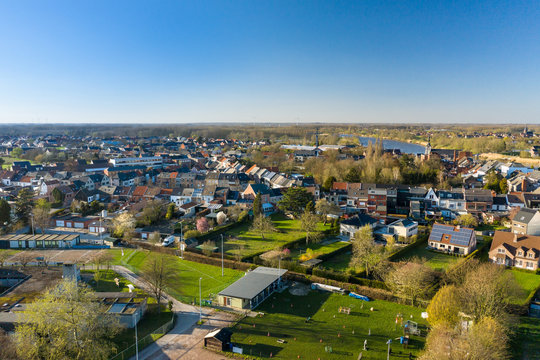 Aerial view of Baasrode, a small flemish town on the shore of the Scheldt river