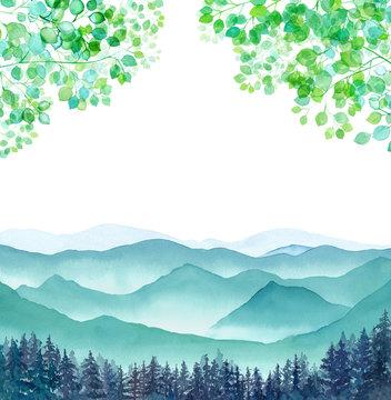 山頂から見下ろした山々の風景