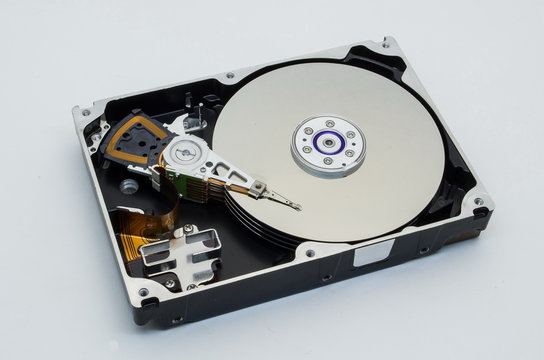 hard disk drive, close-up, isolate, white background