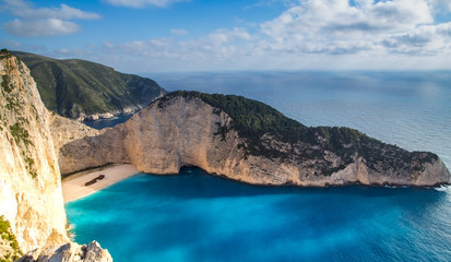 Poster Tropical beach Navagio bay and Ship Wreck beach in summer. The most famous natural landmark of Zakynthos, Greek island