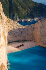 Garden Poster Shipwreck Navagio bay and Ship Wreck beach in summer. The most famous natural landmark of Zakynthos, Greek island