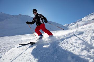 Senior man skiing