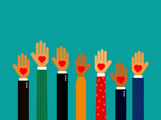 hands with hearts. volunteer. hands gift heart Isolated on blue background. Vector Illustration.
